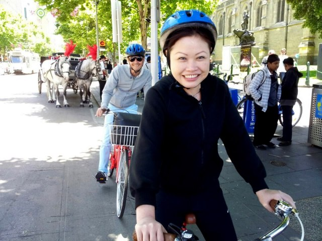 Cycling in Melbourne.
