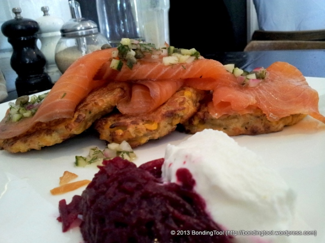 Corn Fritters with Salmon Goat Cheese and Beet Mart 130©BondingTool