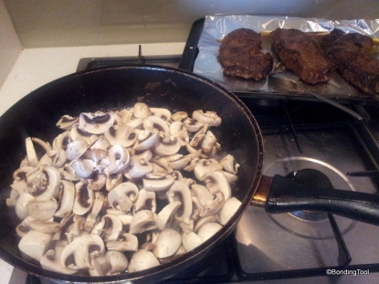 Mushroom sauce in the making.