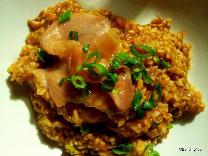 Pescatare risotto with smoke salmon