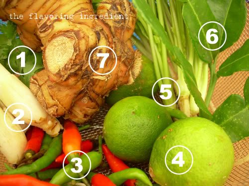 1: Cilantro Leaves; 2: Lemongrass; 3: Chilli Padi; 4: Lime; 5: Cilantro Roots; 6: Kaffir Lime Leaves; 7: Galangal