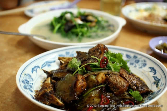 Stir-fried Fish Head and Bitter Gourd in Black Bean Sauce.