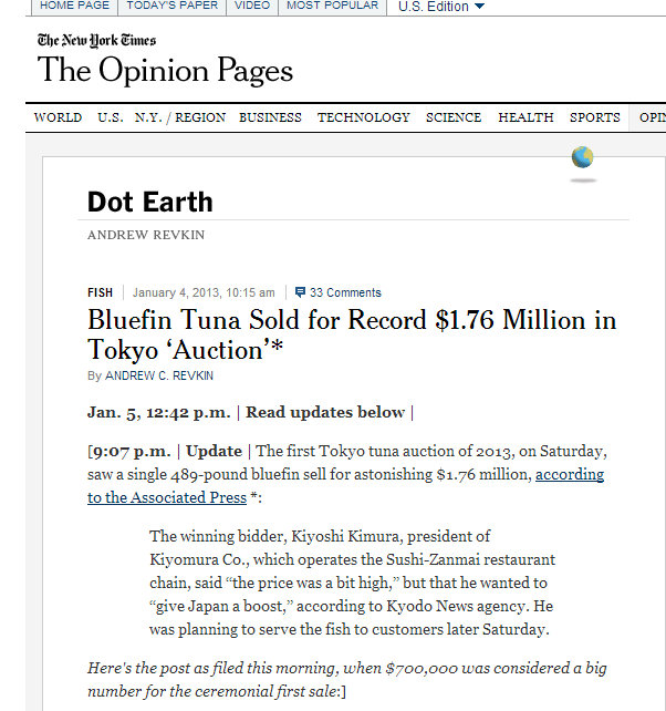 Bluefin Tuna Sold for Record $1.76 Million in Tokyo Auction - NYTimes.com(2)