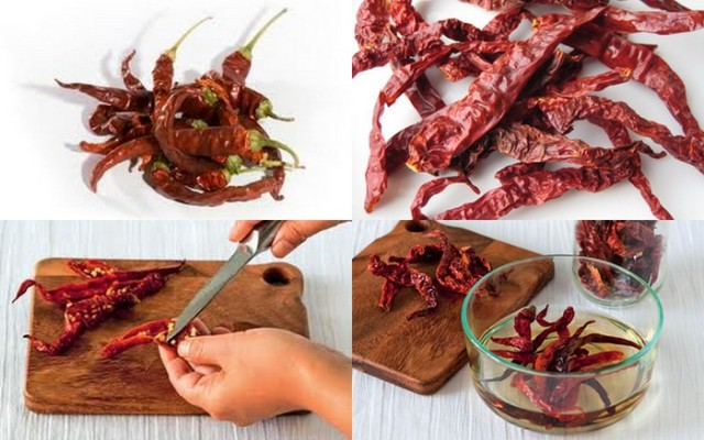 How to prepare and soften Dried Chillies. Photo credit: Google Images.