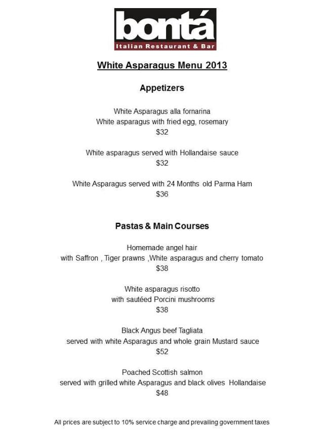 Launching today...Bonta's White Asaparagus 2013 Menu!