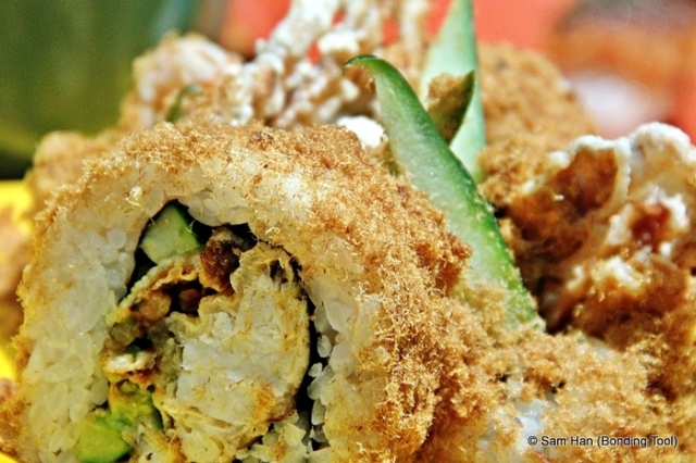 Soft shell crab roll with fish floss.