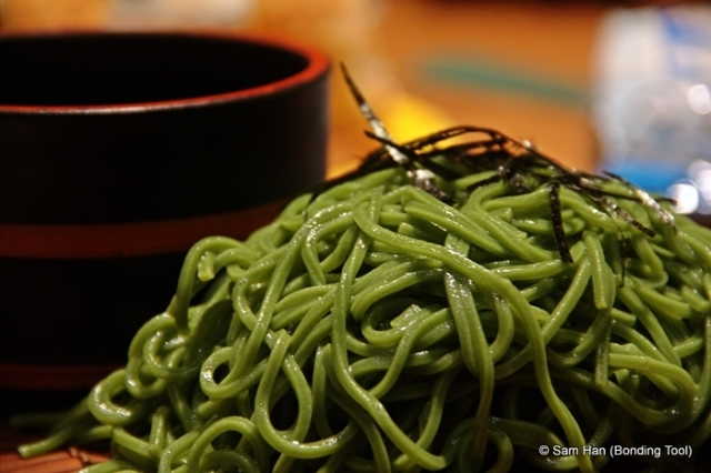 Cha Soba nestled on ice - a refreshing welcome on a hot humid day!
