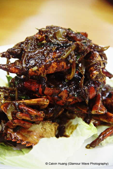 Calvin's take on black pepper crab.