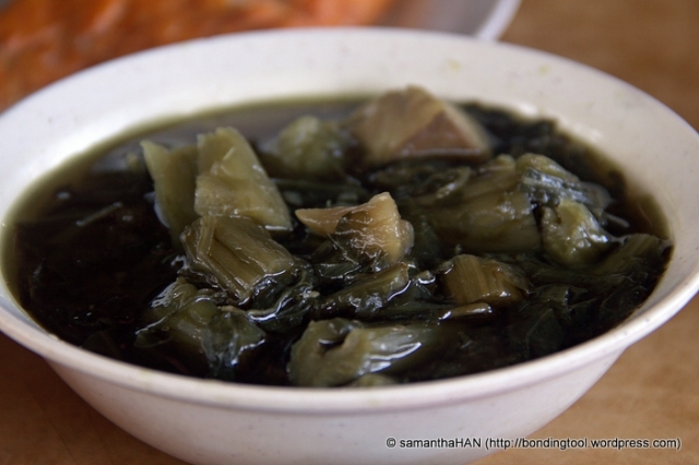 Stewed salted vegetables or mui choy is also a must with BKT meal.