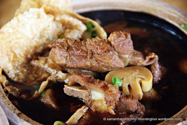 Bah Kut Teh in Malaysia is dark in colour with the addition of more dark soy sauce and Chinese herbs.