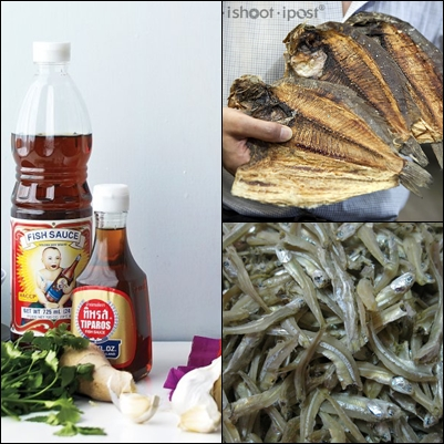 Some of the ingredients used. From left: Fish Sauce, Dried Sole Fish, Dried Anchovies. Photo credit: Martha Stewart, I eat I shoot I post and Google Images.