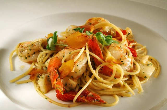 Spaghettini -  with tiger prawns, atlantic cod, sun-dried tomatoes and shaved bottarga.