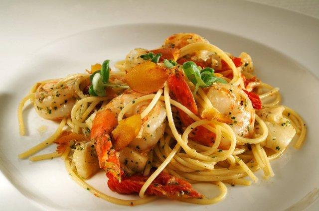 Spaghettini -  with tiger prawns, atlantic cod, sun-dried tomatoes and shaved bottarga.