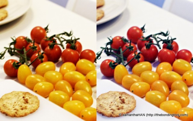 See the difference in the white balance of the same photograph? The one on the right is slightly blueish.
