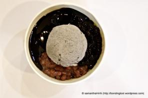 Moshi Moshi Dessert & Tea, Johor Bahru. Black Sesame Sorbet with Red Beans and Grass Jelly.