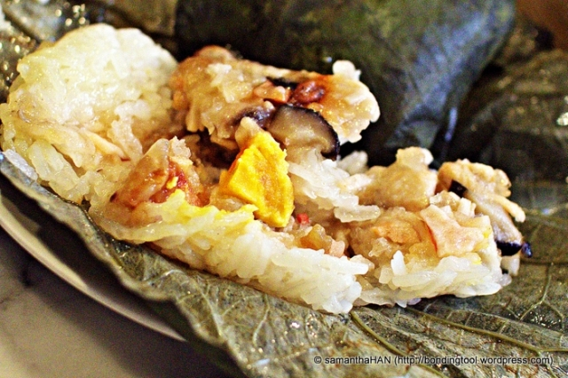 Glutinous Chicken Rice wrapped in Lotus Leaves. A tad overcooked so that rice became too mushed up.