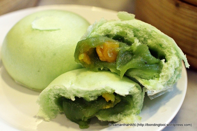 Lotus Paste Buns with Pandan flavouring and Salted Egg Yolk.
