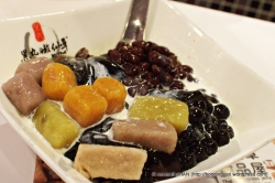 BlackBalls Signature dessert with milk.
