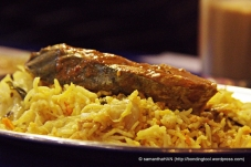 Mackerel Fish Curry on a bed of Basmati Biryani Rice.