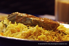 Mackerel Fish Curry on a bed of Basmati Biryani Rice.
