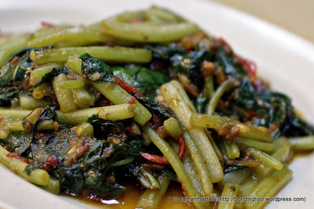 Sweet Potato Leaves cooked in Sambal.
