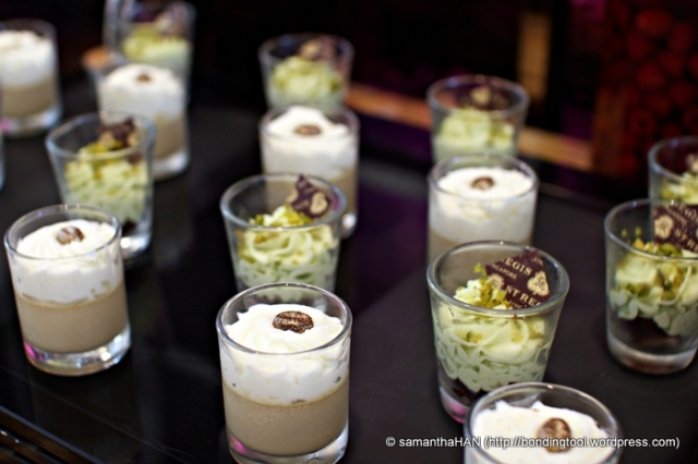 Pistachio and Coffee Mousse.