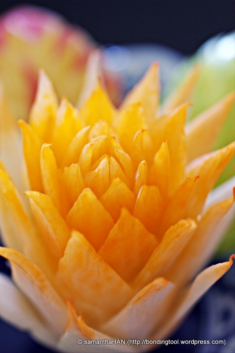 Flower is commonly carved out of fruit and vegetable.