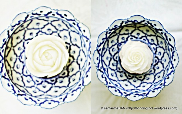 Zara's white roses displayed textured petals that were very realistic. Truly the work of an artisan.