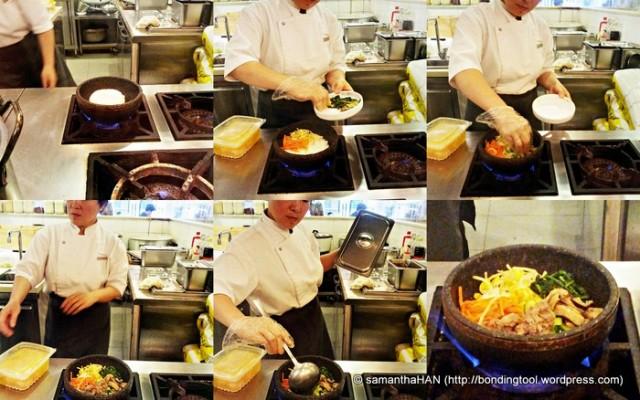 Bibimbab cooked in hotstone!