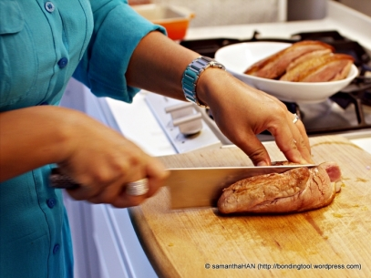 After about 10-15 minutes, slice each breast into half lengthwise and further slice them into bite size pieces as shown in later photographs.