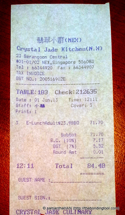 Our bill for 3 pax.