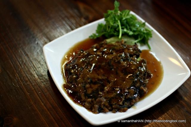 Steamed Minced Pork Patty with Preserved Vegetables (Mui Choy 梅菜).