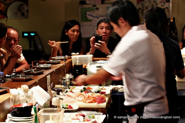 Chef and owner Yamashita Teppei preparing our Sashimi on the spot.