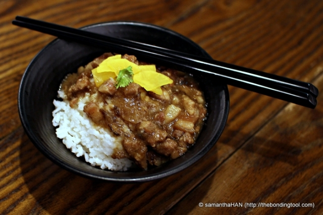 Braised pork on rice (Lu Rou Fan) 滷肉飯. They are eaten round the clock, even as breakfast.