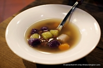 Hot dessert of Yam Balls and Red Bean Ginger Soup.
