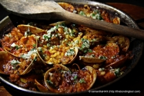 FLOWER CRAB, SQUID & PRAWNS PAELLA - Seafood paella, cooked with tomatoes and seafood stock.