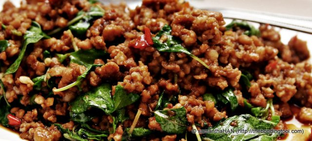 Minced Pork with Thai Basil - bringing the focus and attention to the food.