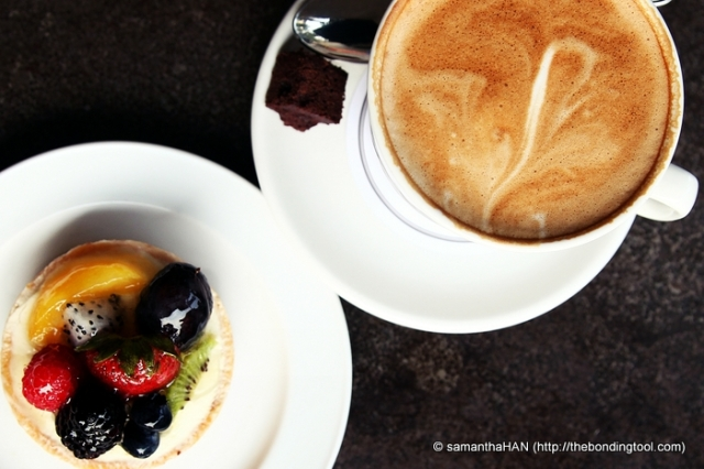 Latte would be boring if not for Strawbeery Cream Fruit Tart.