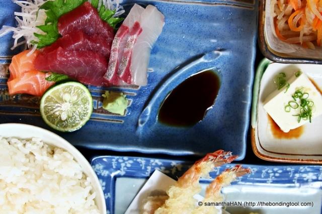 Sashimi and Tempura Rice Set.