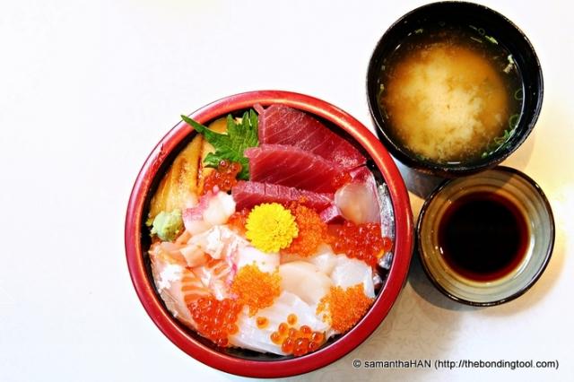 Chirashizushi with Miso Soup and Dipping Shoyu.