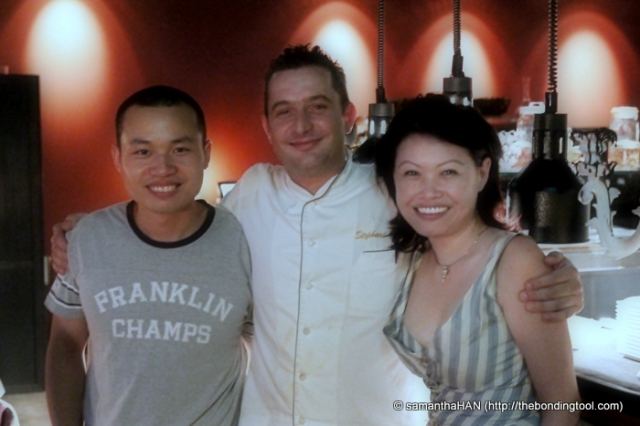 Sous chef Alex, chef and owner Istel and myself.