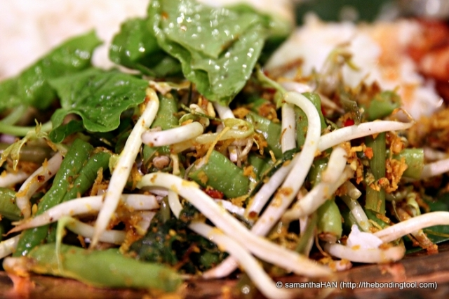Urap is a salad dish of steamed/raw vegetables mixed with seasoned and spiced grated coconut (serundeng) for dressing.