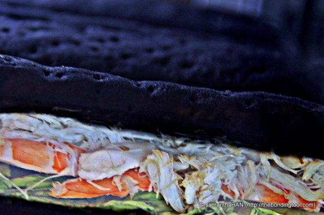 Squid Ink Panini with King Crab and Prawns