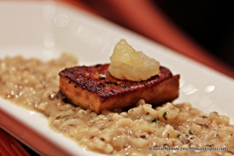 Truffle Risotto and Foie Gras with Apple Sauce.