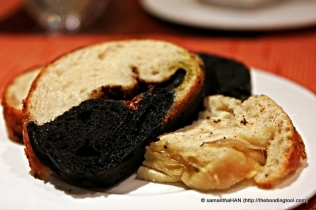 Squid Ink (with sundried tomatoes) and Onion Bread.