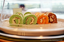 Swiss Rolls - Pandan, Orange and Chocolate.