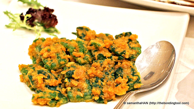 Bittergourd fried in Salted Egg Yolk. Crunchy and creamy. I liked this.