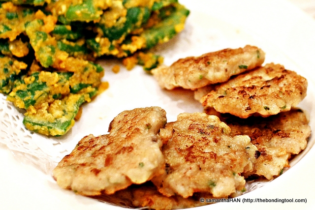 Pan-fried Salted Fish and minced Pork patties.