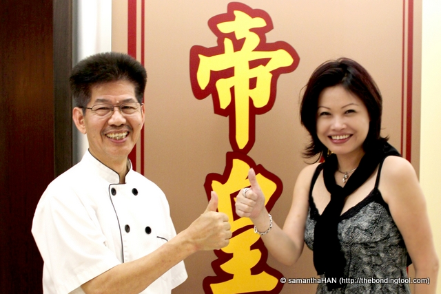 Two-Michelin-Starred Chef Cheng Kam Fu and I. How's his cooking? Thumbs up!
