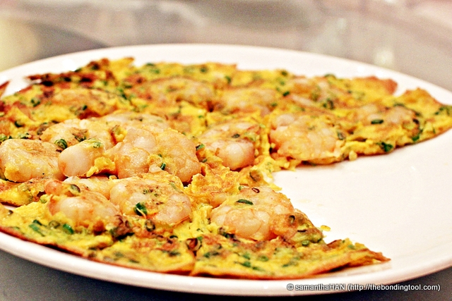 Prawns and Scallion Omelet.